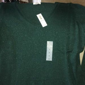 Old Navy Christmas Sweater green sparkles